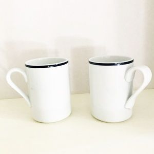 DANSK Bistro Mugs Set of Two White Navy